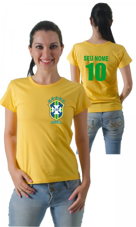 Camiseta Brasil (Com Seu Nome e Numero) c6599218fa3b0
