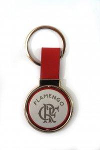 Chaveiro Redondo Giratório Couro Vermelho do Flamengo