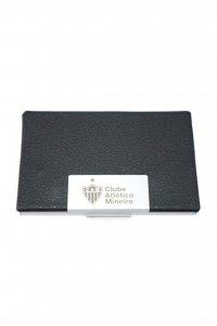 Porta Cartão Couro Preto Escudo do Atlético Mineiro